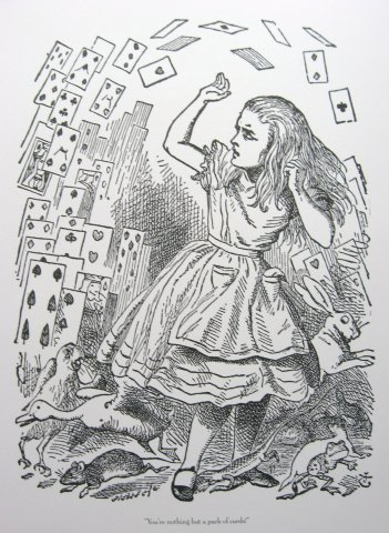Alice And The Pack Of Cards Black White Print By Sir John Tenniel